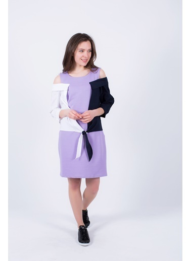 Clıche  Düşük Omuz Detaylı Elbise Lila